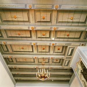 Balkenplafond beschilderd met cassetten, takken en rozetten
