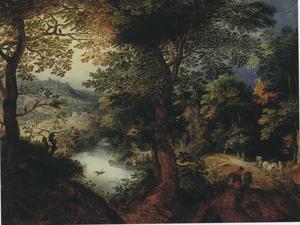 Bebost rivierlandschap met een landweg