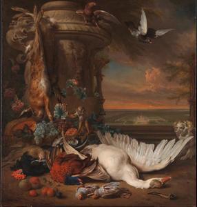 Stilleven met dood wild en vruchten naast een tuinvaas, met een aap, een hond en twee duiven; in het verschiet Rijksdorp bij Wassenaar, een buitenverblijf van jhr. Jacob Emmery baron van Wassenaar