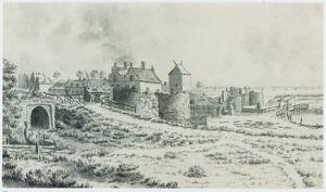 Landschap met ruïne, stad, landhuis en ophaalbrug