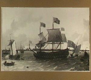 De Britannia op de Nieuwe Maas voor Rotterdam