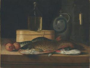 Stilleven met dode vis