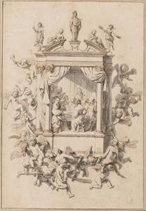 Musicerend gezelschap in een architectonische omlijsting met Apollo, Venus, Muzen en putti
