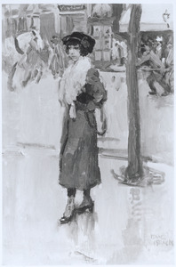Parisienne met rode mantel