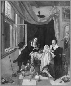 Interieur met een echtpaar en een kind