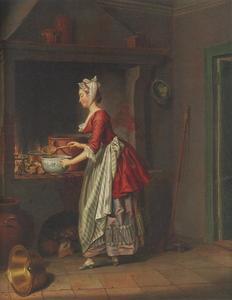 Een dienstmeid die soep in een kom schenkt