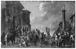 Processie van boetelingen trekt een kerk binnen in een zuidelijke stad