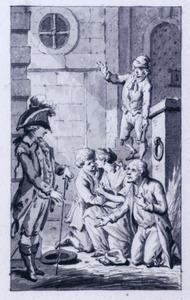Een jonge officier met smekende figuren bij een gevangenis