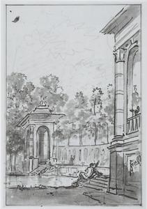 Minnekozende figuren bij een ommuurde vijver