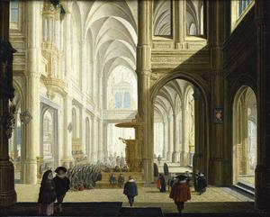 Interieur van een gotische kerk met een menigte rond de preekstoel, luisterend naar een bijbellezing