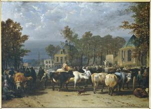 Gezicht op de veemarkt op de Kerkbrink te Hilversum