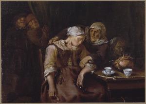 Herberginterieur met slapende jonge vrouw