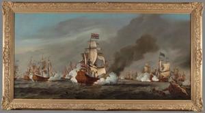 Lt-Admiraal Cornelis Tromp op De Gouden Leeuw in gevecht gewikkeld met Rear-Admiral Sir John Chicheley op de 'Charles', 21 augustus 1673: episode uit de Derde Engelse Zeeoorlog (1672-1674)