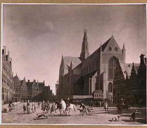 Het marktplein in Haarlem met de Grote- of St. Bavokerk
