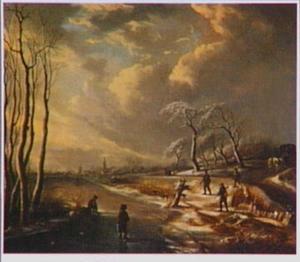 Winterlandschap met jagers langs een bevroren rivier