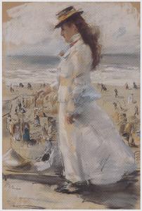 Dame in het wit aan de boulevard, Scheveningen