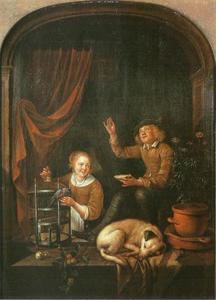 Bellen blazende jonge man en een jonge vrouw met een vogel in een venster
