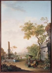 Landschap met drinkende jagers bij een fontein
