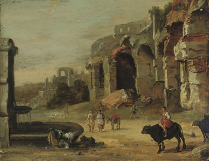 Italianiserend landschap met herders en een wasvrouw bij een fontein, klassieke ruïnes op de achtergrond