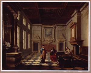 Paleisinterieur met Christus in gezelschap van Martha en Maria