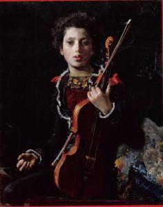 Portret van Luigino Gianchetti als vioolspeler