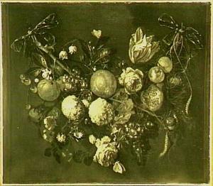 Festoen van bloemen en vruchten