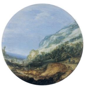 Berglandschap met brug, in de verte een vervallen toren
