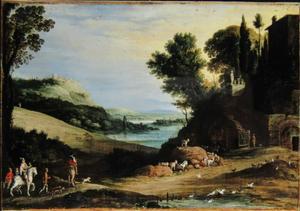 Italianiserend landschap met een jachtpartij die naar een villa toe gaat, in de achtergrond nog meer jagers en een bergdorpje
