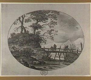 Heuvellandschap met figuren op een brug