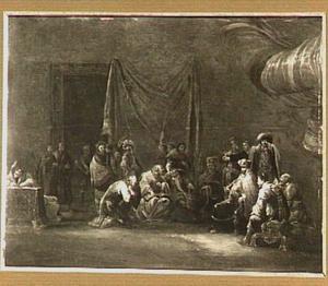 Judas brengt de dertig zilverlingen terug bij de hogepriester