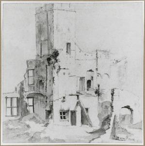 Het oude Amsterdamse stadhuis na de brand op 7 juli 1652