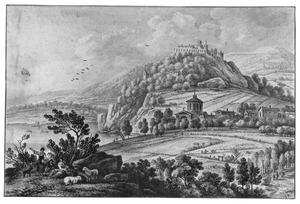 Heuvelachtig landschap kasteel, dorp, herders en meer