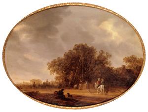 Landschap met herders, vee, ruiters en een reiswagen bij een waterput