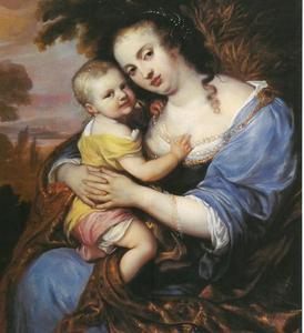 Portret van een moeder met kind, waarschijnlijk koningin Hedwig Eleonora van Zweden, geboren prinses van Schleswig-Holstein-Gottorf met haar zoon, erfprins Karl van Zweden