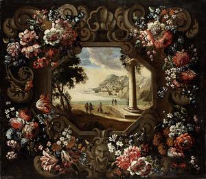Cartouche-bloemstilleven rondom een voorstelling van de golf van Gaeta