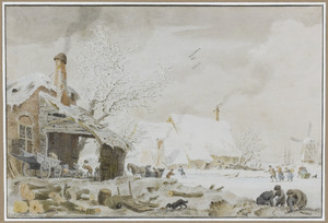 Winterlandschap met boerderijen en schaatsers