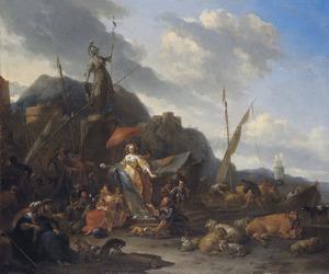 Gezicht op een aanlegplaats met kooplieden, vee, een elegante jonge vrouw en een standbeeld van Minerva