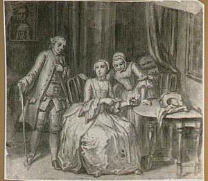 Twee vrouwen en een man in een interieur