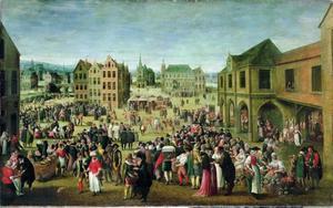 Marktscene in Aken met de Mariakerk en het raadhuis