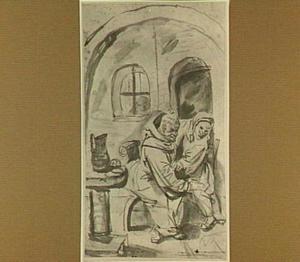Monnik en vrouw in een interieur