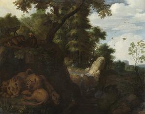 Leeuwen, beren en andere dieren aan een bosrand bij een waterval