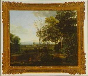 Landschap met gezicht op de Sint Pieterskerk in Rome