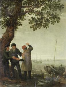 Drie vissers onder een boom aan het strand met uitzicht op schepen