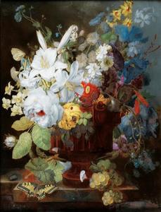 Bloemenstilleven met vaas op een stenen plint