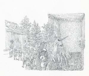 Eenhorn in kooi
