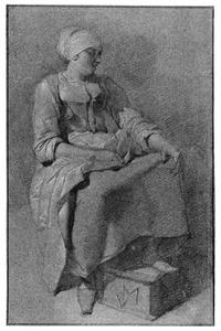 Zittende vrouw met voet op stoof