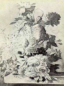 Bloemstilleven in een vaas op een piëdestal