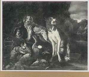 Drie honden waken bij een buit van haas en gevogelte