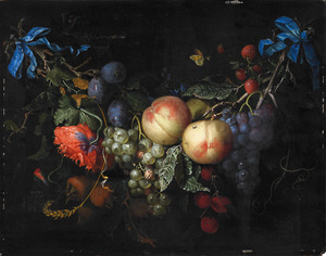 Guirlande van vruchten en een papaver