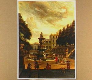 Park voor een landhuis met fontein en elegante figuren